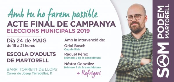La Bustia Som Podem Martorell acte final de campanya 2019