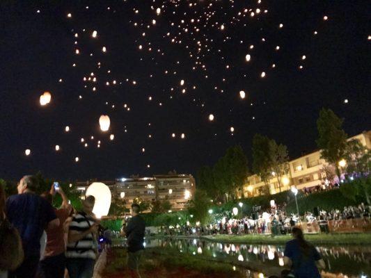 La Bustia enlairament fanalets Festa Major Olesa 2018