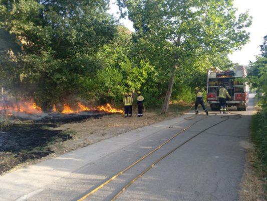 La Bustia incendi de matolls al costat del riu Anoia Martorell