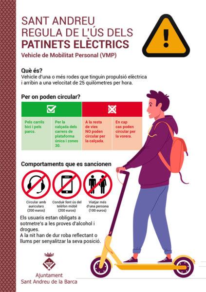 Sant Andreu - La Bustia - cartell patinet electric