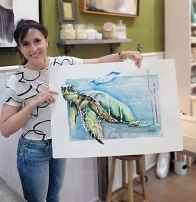 La Bustia Eva Fernandez amb tortuga Olesa