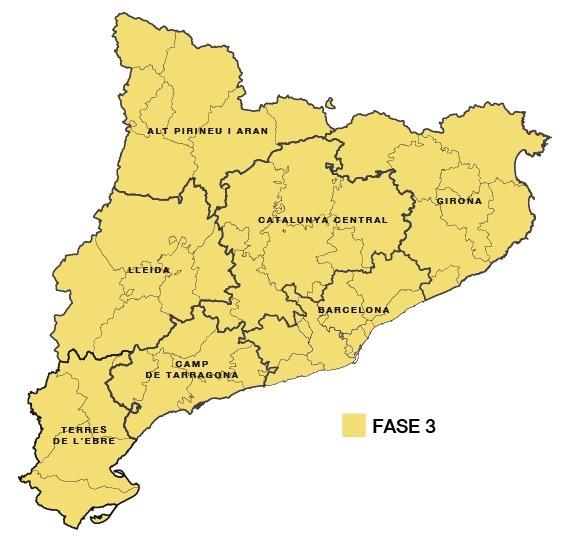 La Bustia mapa Catalunya fase 3 desescalada