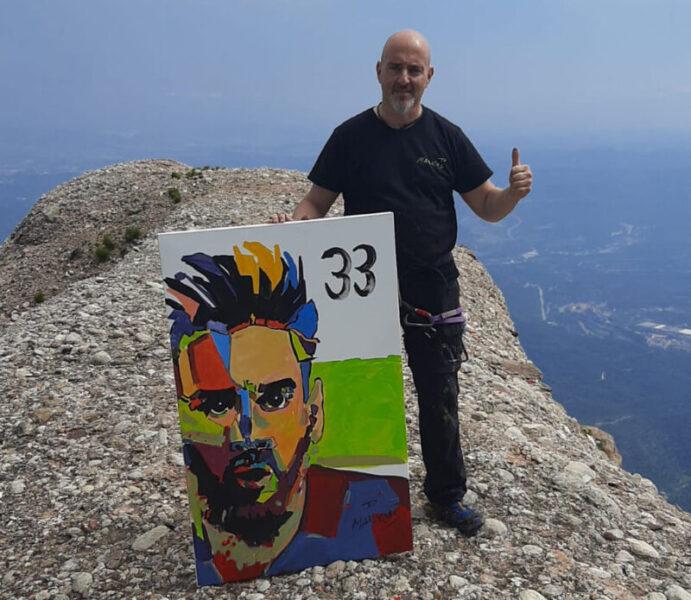 Markus amb quadre Messi Sant Jeroni Montserrat