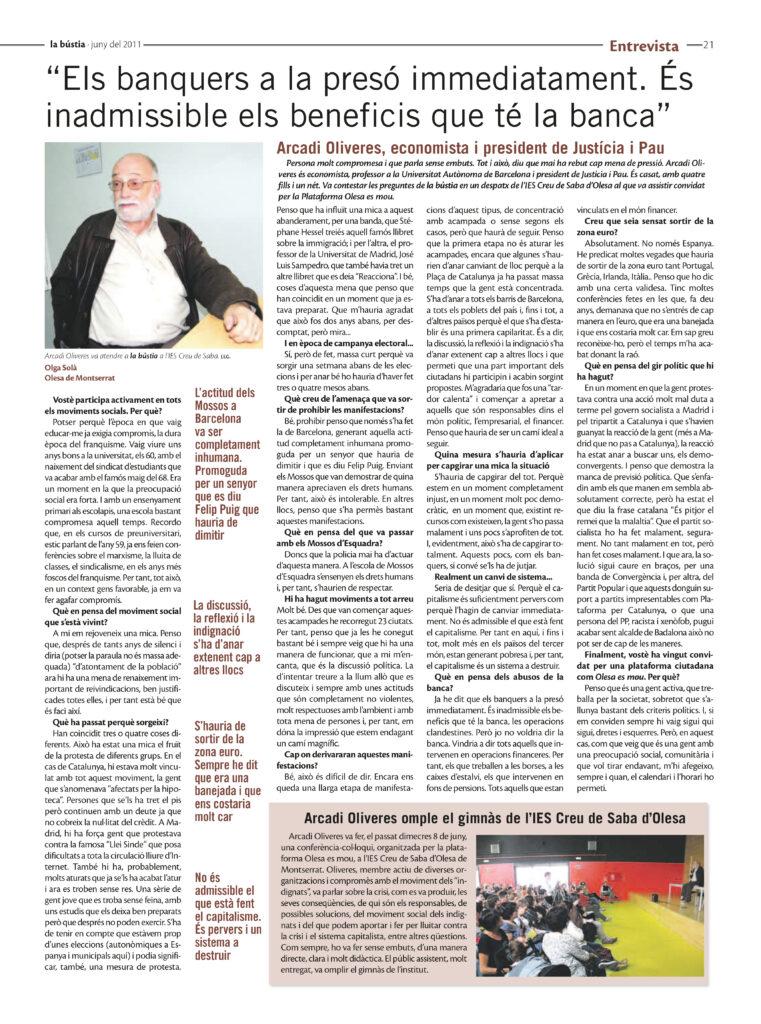La Bustia entrevista Arcadi Oliveres Olesa 2011