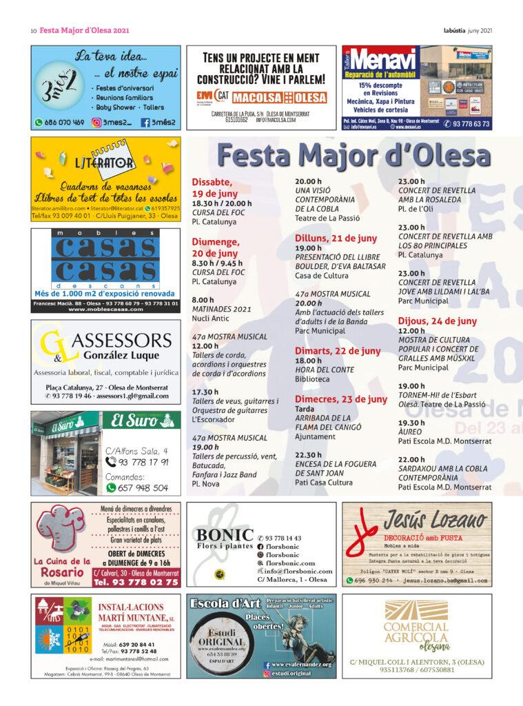 La Bustia programa Festa Major Olesa 2021 1