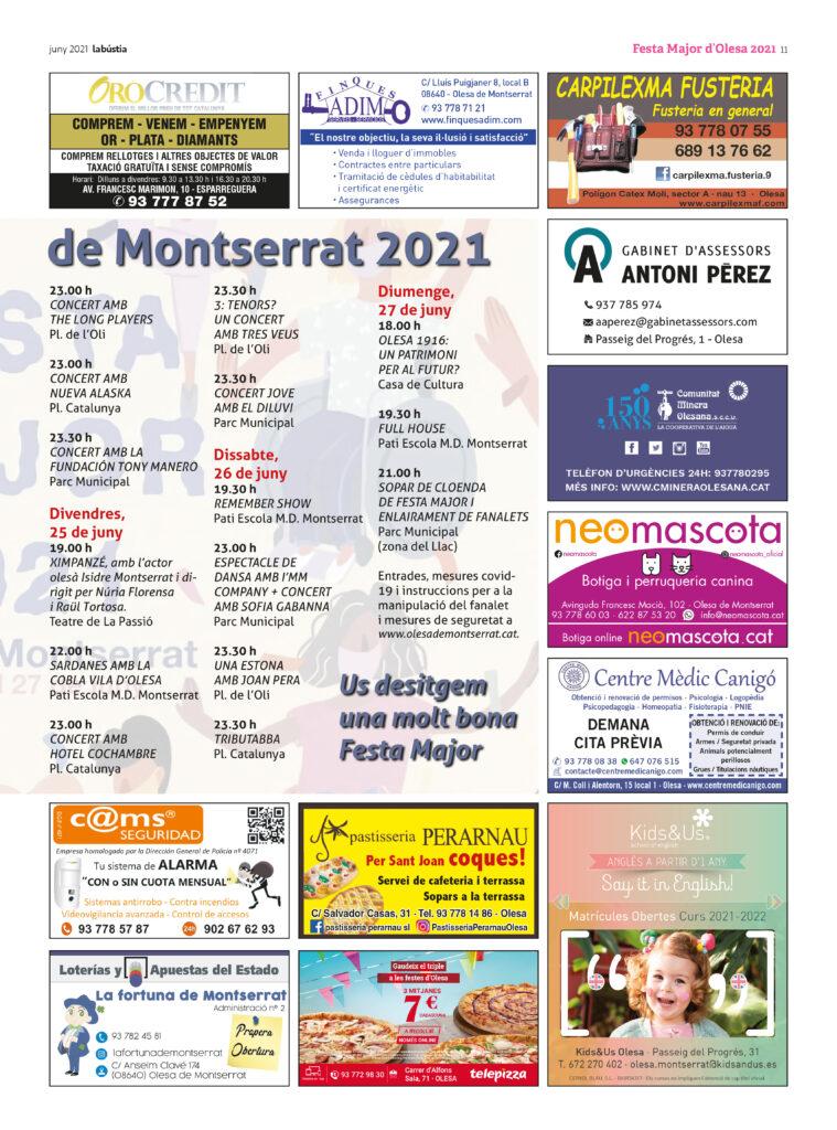 La Bustia programa Festa Major Olesa 2021 2