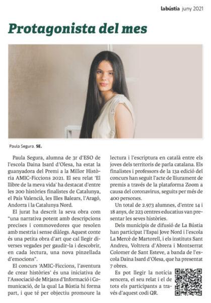 La Bustia Paula Segura protagonista del mes juny 2021