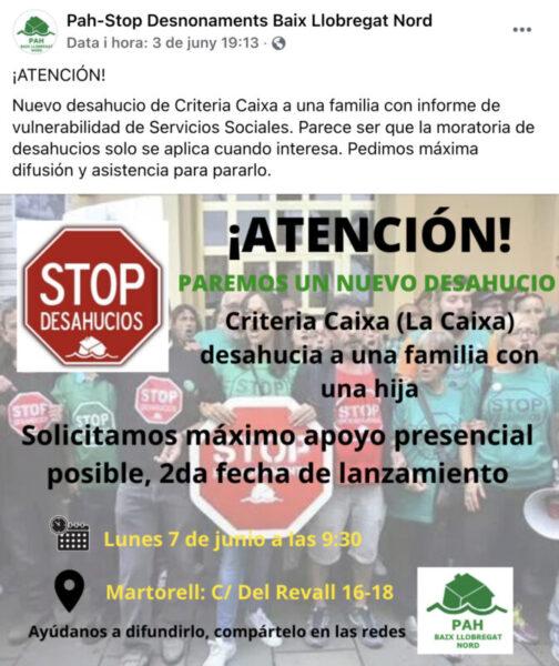 La Bustia facebook convocatoria desnonament PAH Baix Llobregat Nord Martorell